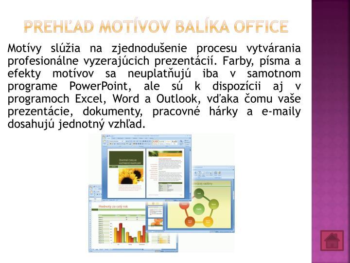 Prehľad motívov balíka Office