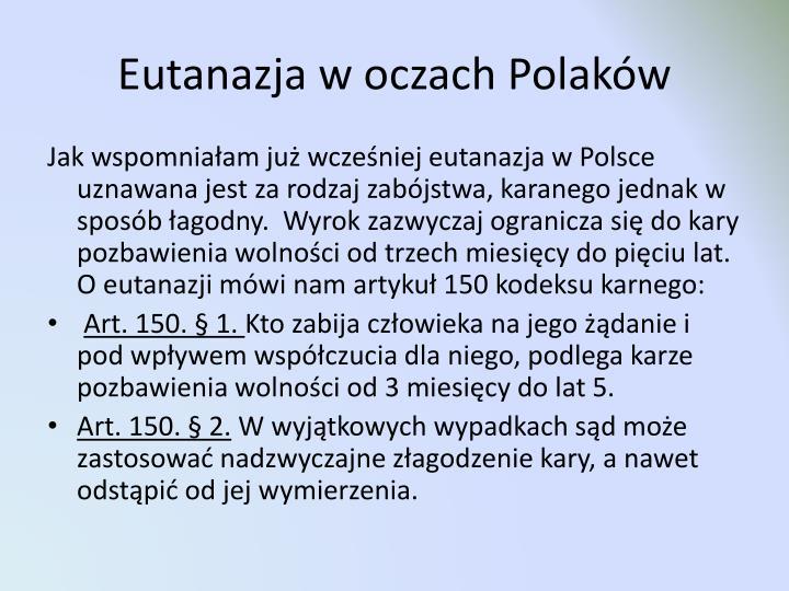 Eutanazja w oczach Polaków