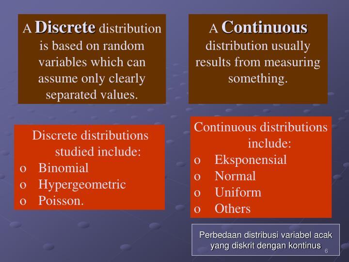 Perbedaan distribusi variabel acak yang diskrit dengan kontinus