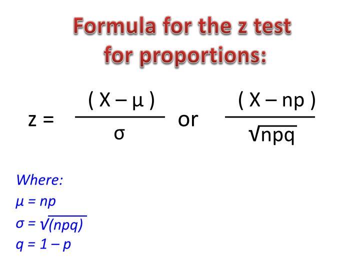 Formula for the z test