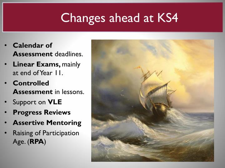 Changes ahead at ks4