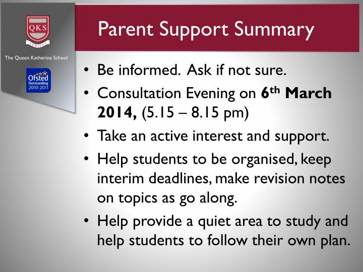 Parent Support Summary