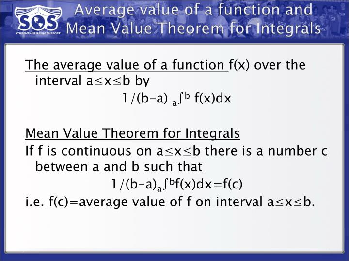 Average value of a function and Mean Value Theorem for Integrals