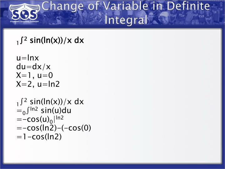 Change of Variable in Definite Integral