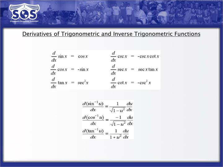 Derivatives of Trigonometric and Inverse Trigonometric Functions