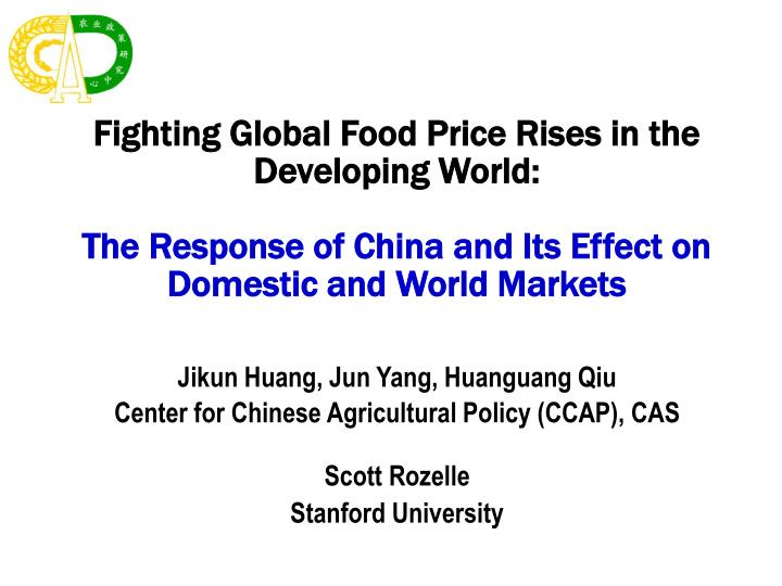 Fighting Global Food Price Rises in the Developing World:
