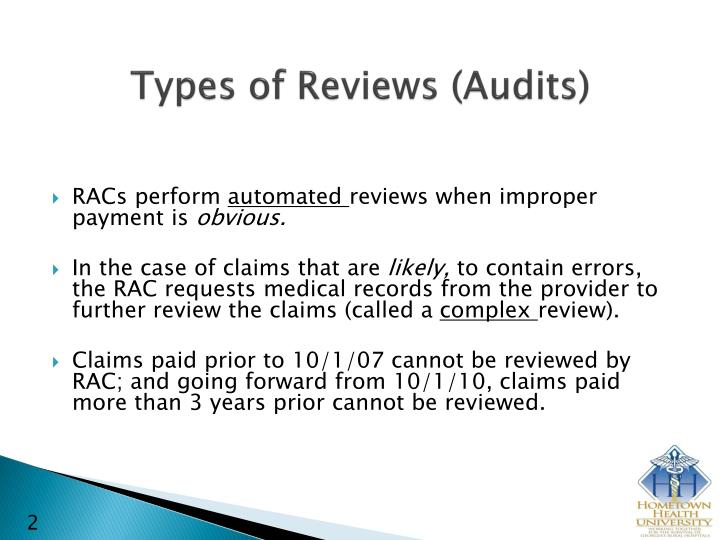 Types of reviews audits