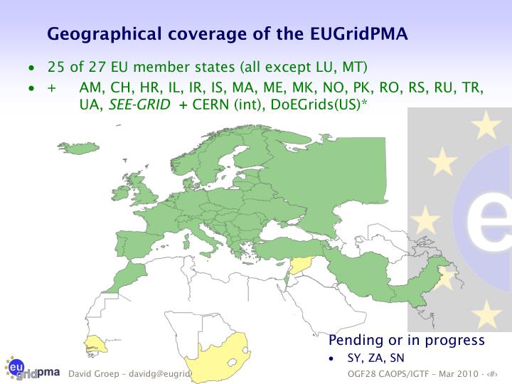 Geographical coverage of the EUGridPMA