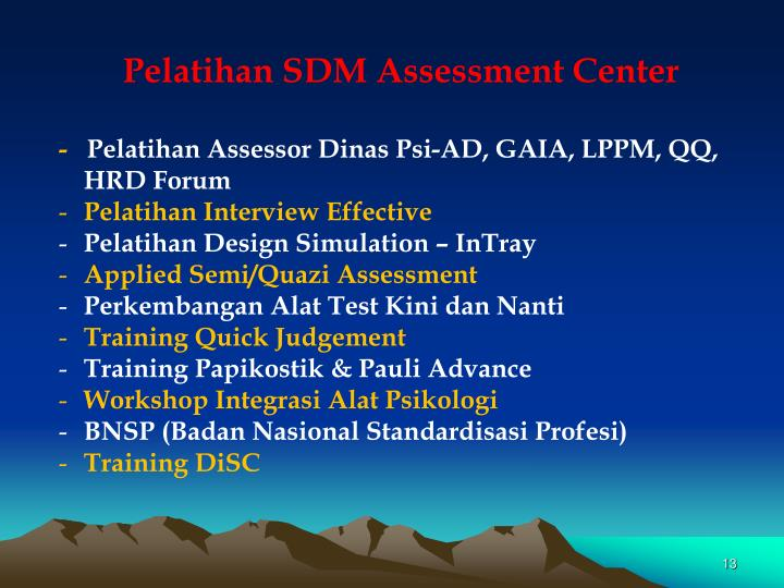 Pelatihan SDM Assessment Center