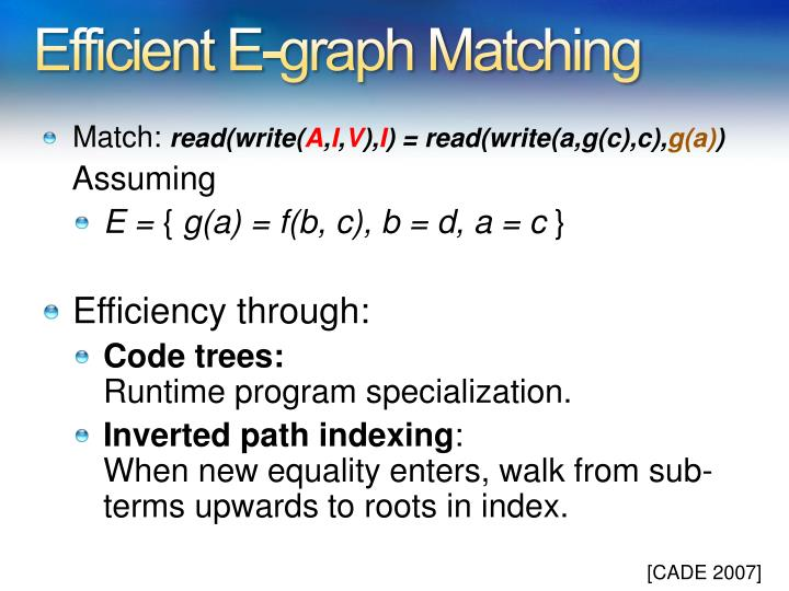 Efficient E-graph Matching