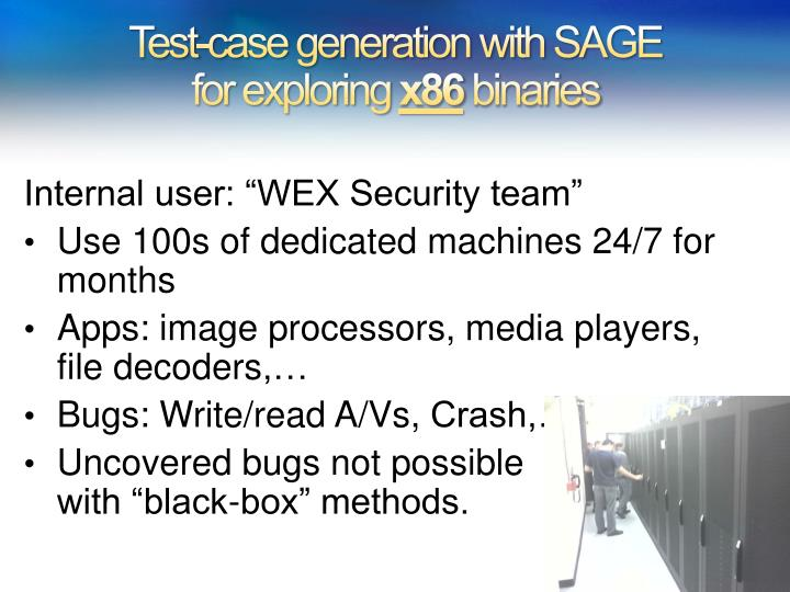 Test-case generation with SAGE