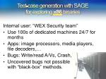 test case generation with sage for exploring x86 binaries
