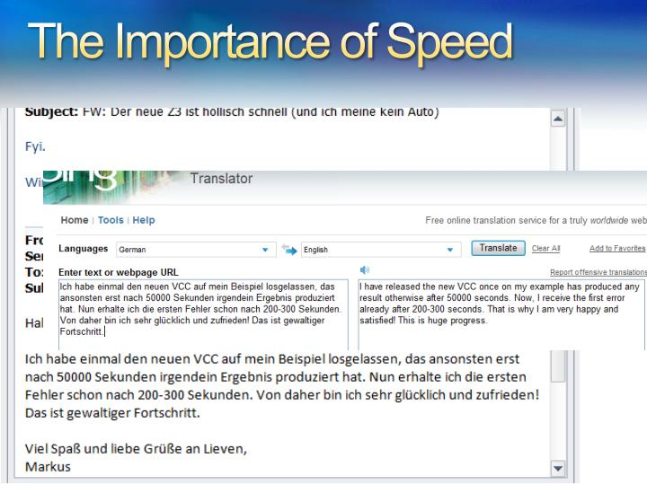 The Importance of Speed