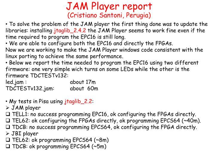JAM Player report