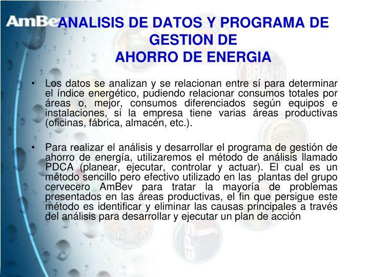 ANALISIS DE DATOS Y PROGRAMA DE GESTION DE