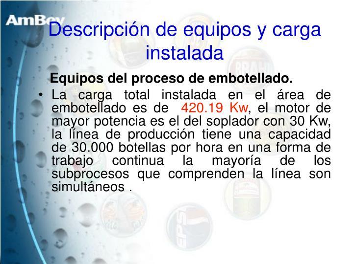 Descripción de equipos y carga instalada