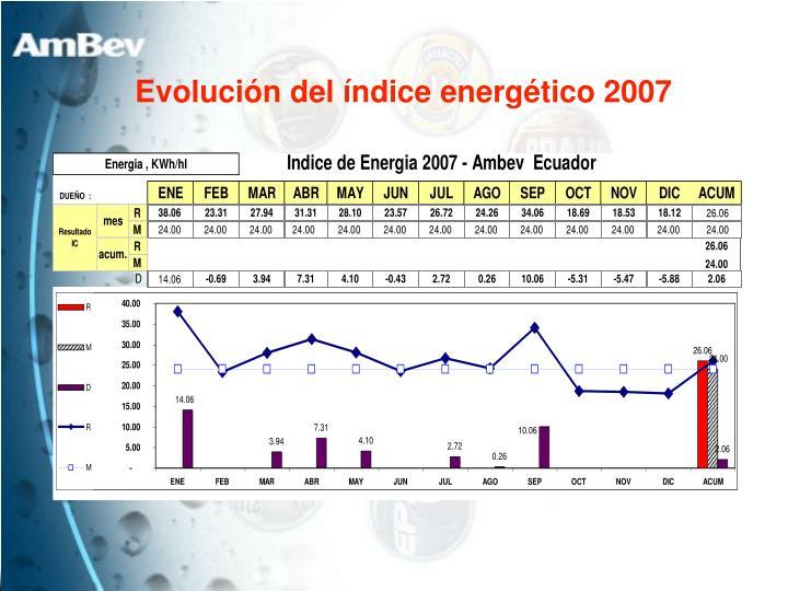 Evolución del índice energético 2007