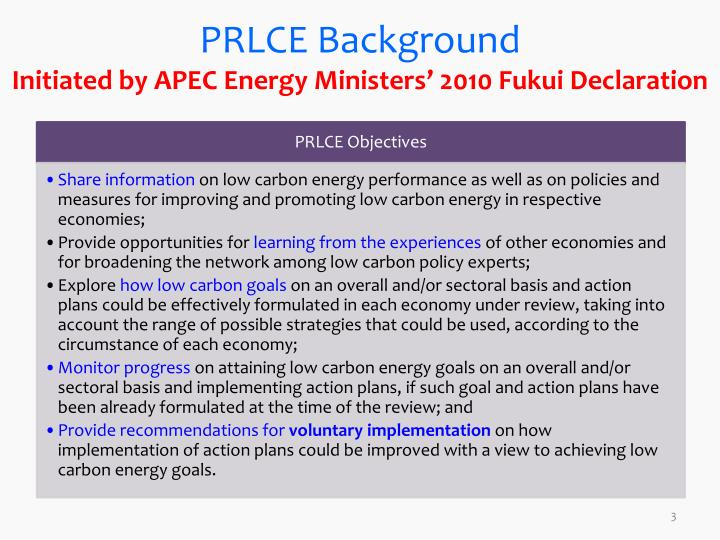 Prlce background initiated by apec energy ministers 2010 fukui declaration