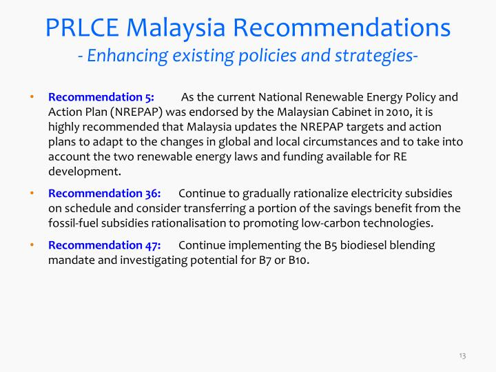 PRLCE Malaysia Recommendations