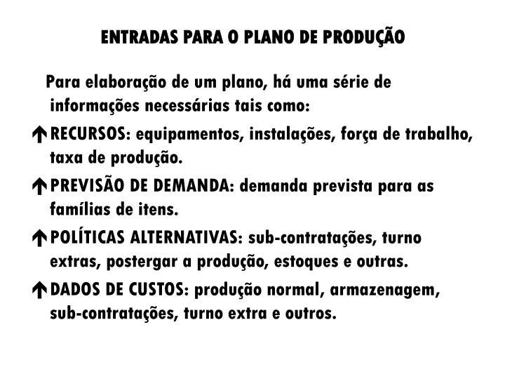 ENTRADAS PARA O PLANO DE PRODUÇÃO
