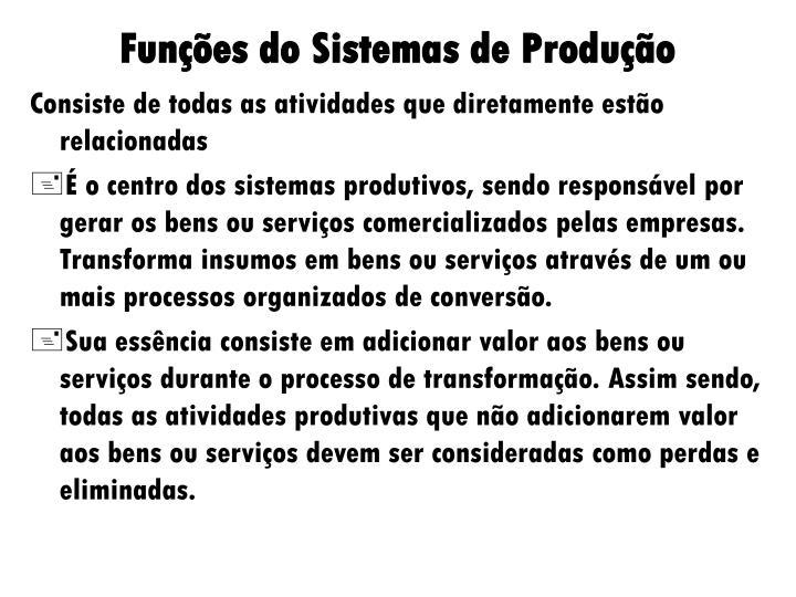 Funções do Sistemas de Produção