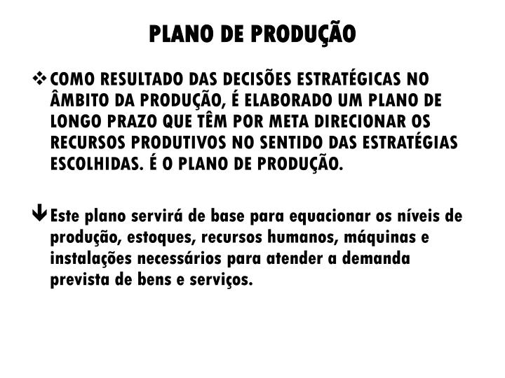 PLANO DE PRODUÇÃO