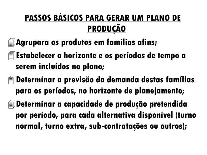 PASSOS BÁSICOS PARA GERAR UM PLANO DE PRODUÇÃO