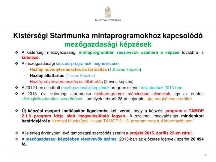Kistérségi Startmunka mintaprogramokhoz kapcsolódó