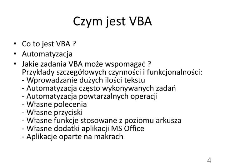 Czym jest VBA