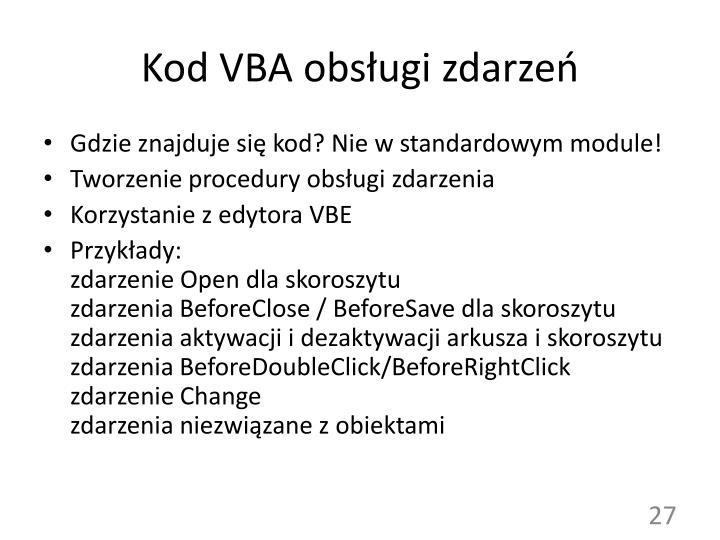 Kod VBA obsługi zdarzeń