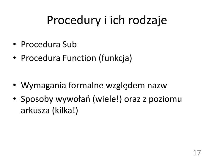 Procedury i ich rodzaje