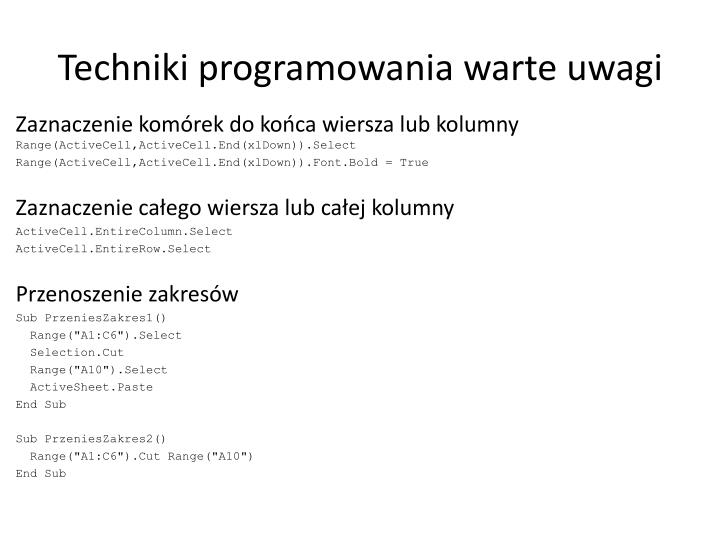 Techniki programowania warte uwagi