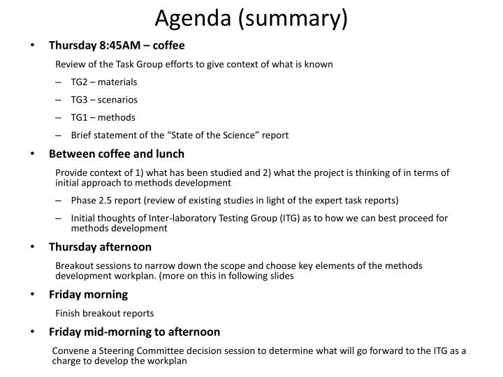 Agenda (summary)