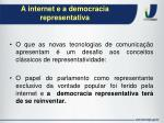 a internet e a democracia representativa