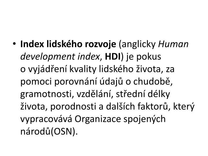 Index lidskho rozvoje