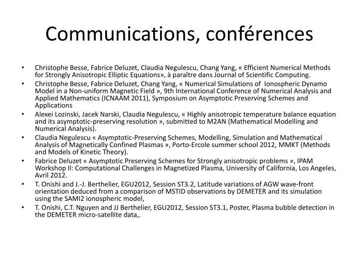Communications, conf