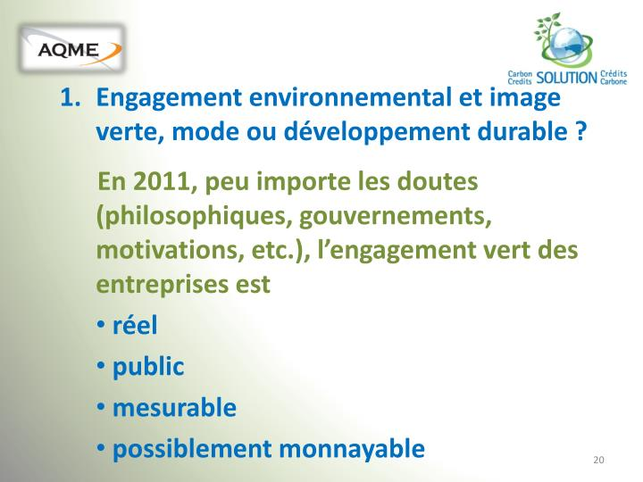Engagement environnemental et image verte, mode ou développement durable ?