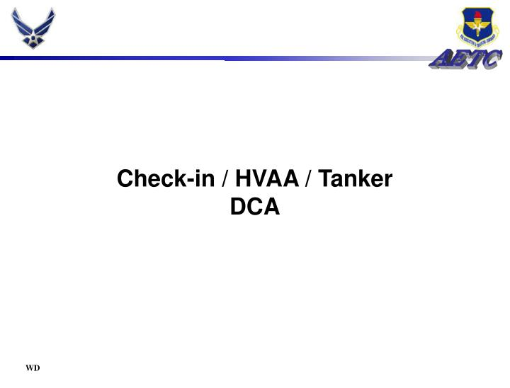 Check-in / HVAA / Tanker