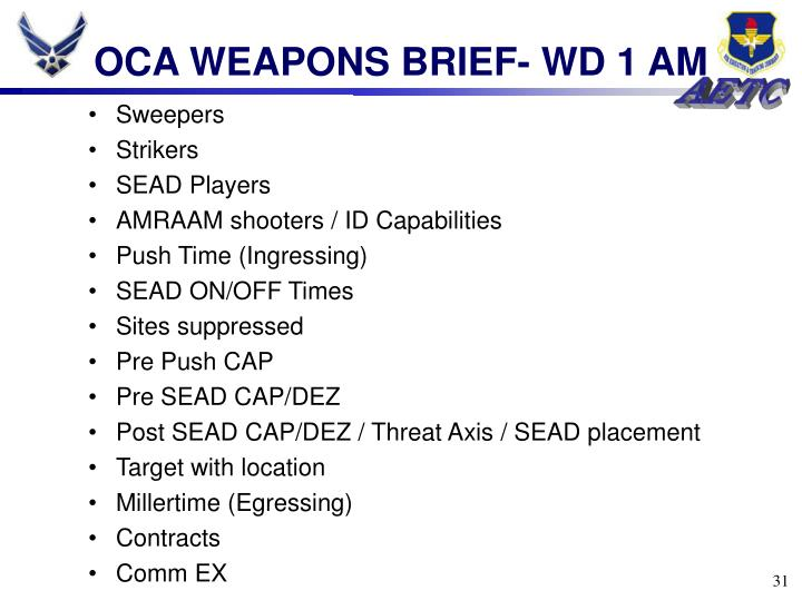 OCA WEAPONS BRIEF- WD 1 AM