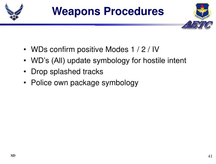 Weapons Procedures