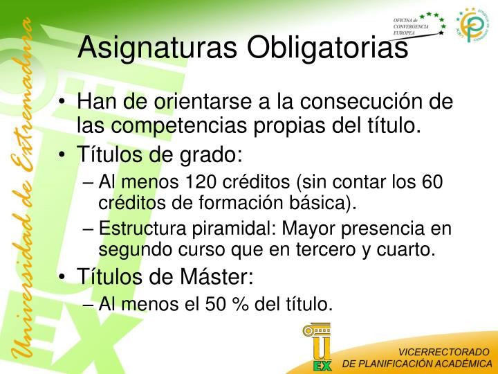 Asignaturas Obligatorias