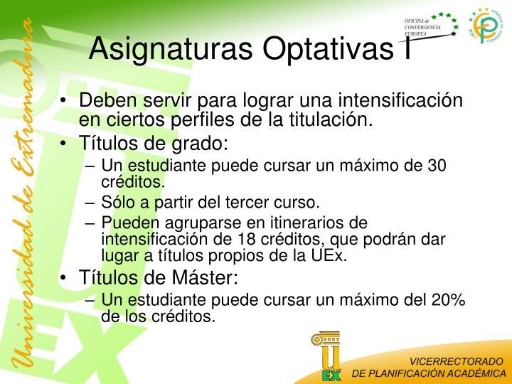 Asignaturas Optativas I
