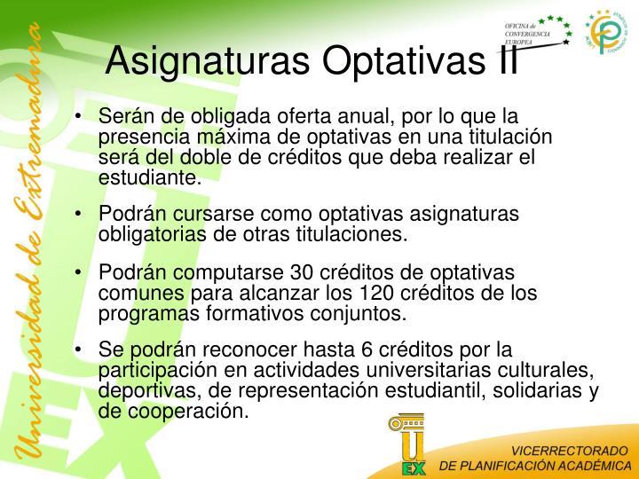 Asignaturas Optativas II