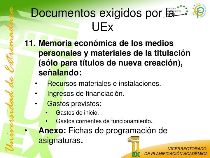 Documentos exigidos por la UEx