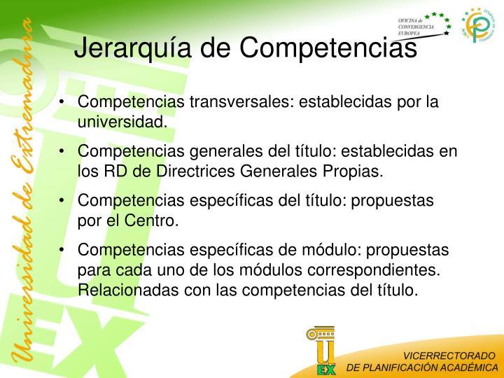 Jerarquía de Competencias
