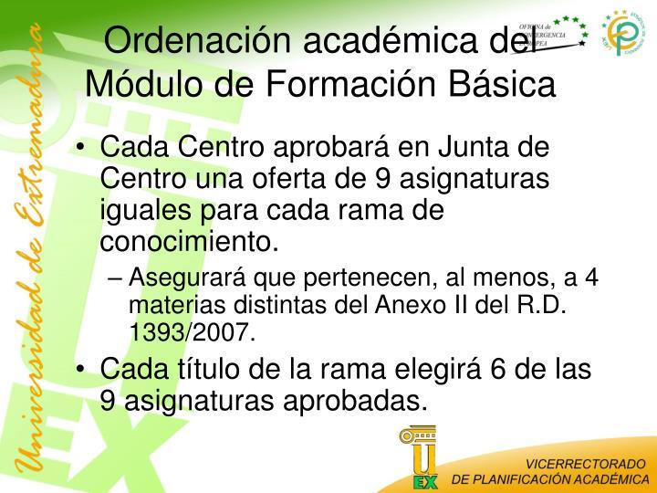 Ordenación académica del Módulo de Formación Básica