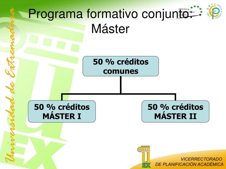 Programa formativo conjunto: Máster