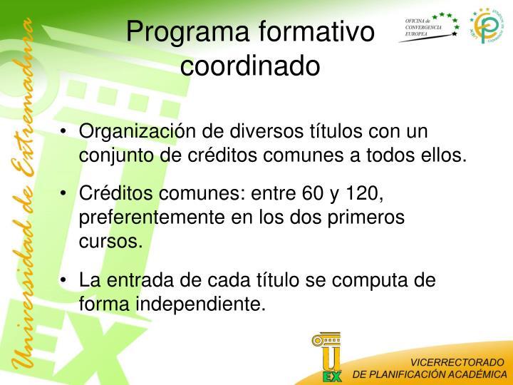 Programa formativo coordinado