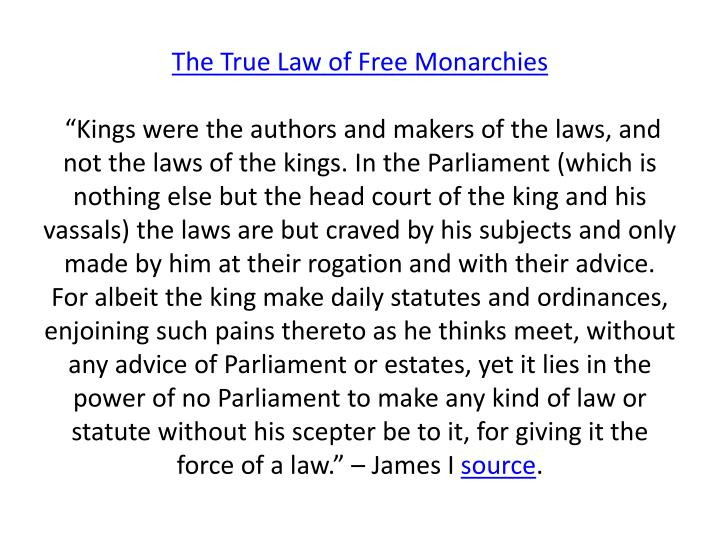 The True Law of Free Monarchies