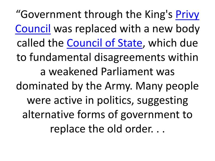 """Government through the King's"